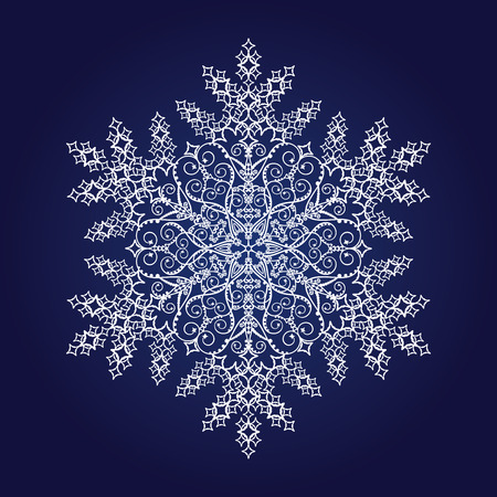 Single detailed snowflake on dark blue background