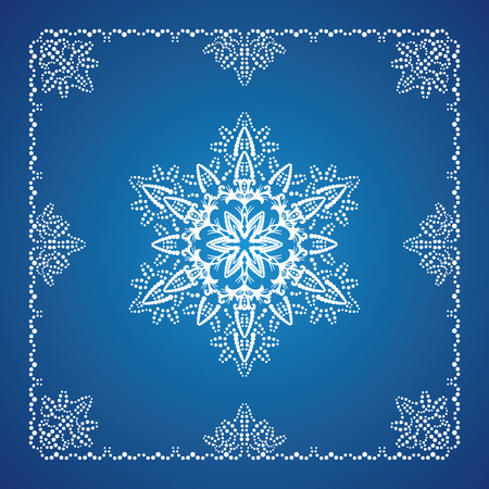 Single detailed snowflake with Christmas border