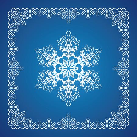 Enkele gedetailleerde sneeuwvlok met kerst rand