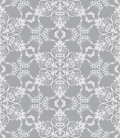 Seamless snowflake pattern on silver background Vector