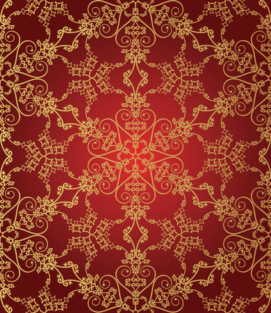 burgundy colour: Seamless red and gold snowflake pattern