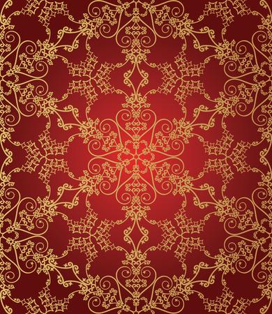 amazing wallpaper: Senza saldatura rosso e oro pattern di fiocco di neve
