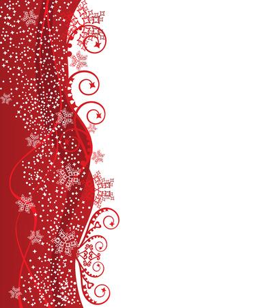 Red wavy Christmas border design Vector
