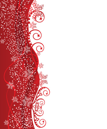 Red wavy Christmas border design