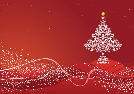 Gedetailleerde witte kerst boom ornament op rode winter achtergrond Stock Illustratie