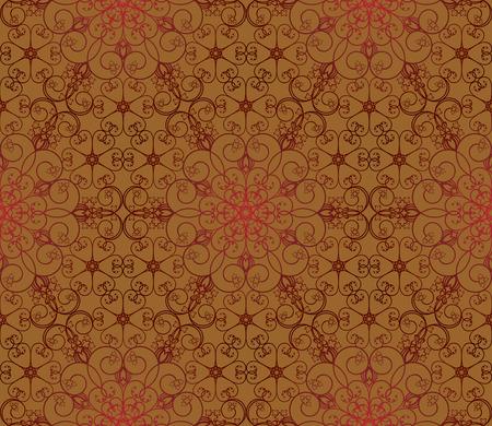 Naadloze rode en bruine bloemen patroon  Stock Illustratie