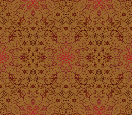 Seamless red and brown floral pattern Vector
