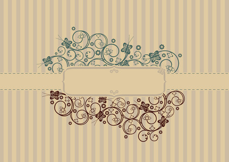 pin stripe: Retro swirls and butterflies cover with text area