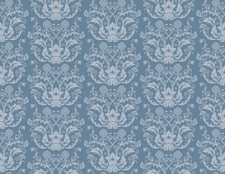blue damask: Seamless blue floral damask wallpaper