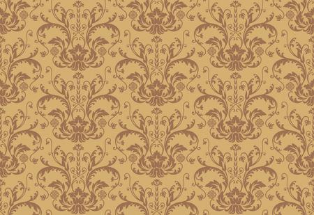 Seamless brown floral damask wallpaper