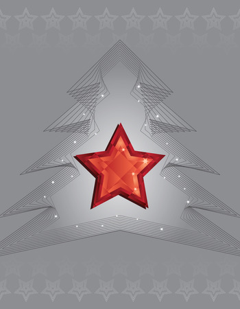 Silver Christmas tree and red diamond star design Vector