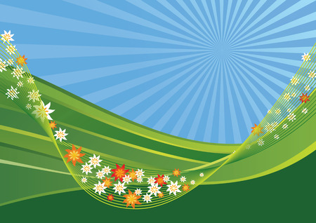 Spring landscape with green hills and flowers on a net Vector