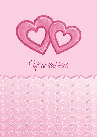 glamorous couple: Two pink diamond hearts greeting card