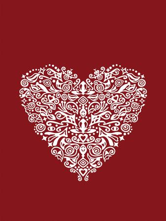 originales: ornamento detallada sobre fondo rojo en forma de coraz�n blanco