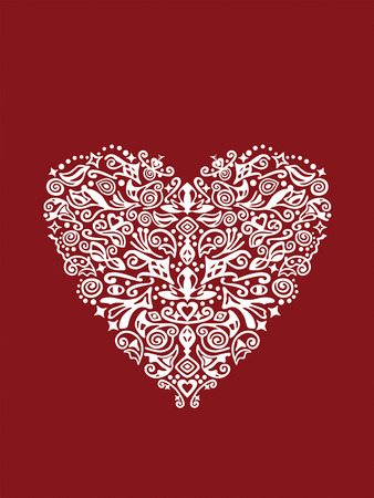 white heart shaped detailed ornament on red background