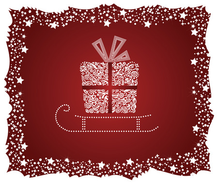 Detailed gift box on a sledge with frosty frame Vector