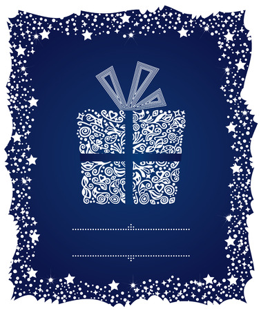 Christmas card of a detailed gift box in a frosty frame Vector