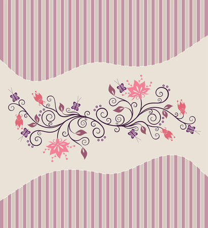 Pink vector flowers on pin-striped background