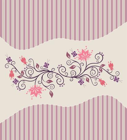 flores color pastel: Vector Rosa flores sobre fondo de rayas pin