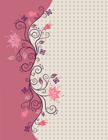 Pink vector flowers border with little squares in the background