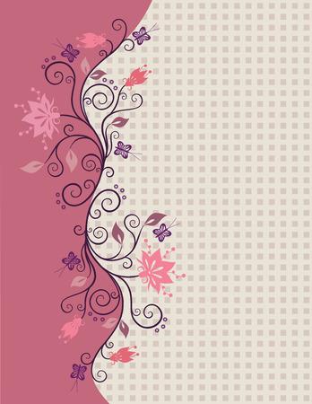 Roze vector bloemen rand met kleine vierkantjes in de achtergrond