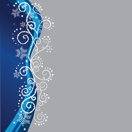 Blue Christmas border on silver background Stock Vector - 5954935