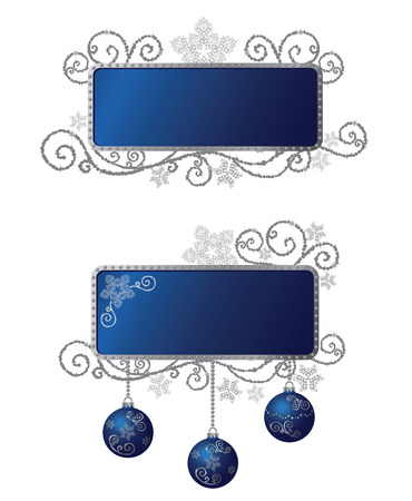 Isolated blue & silver Christmas frames Stock Vector - 5985725