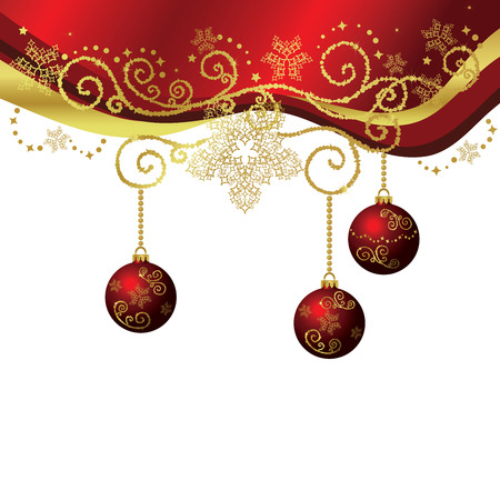 Red & gold Christmas border isolated Illustration