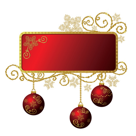 paper ball: Red & gold Christmas frame isolated Illustration