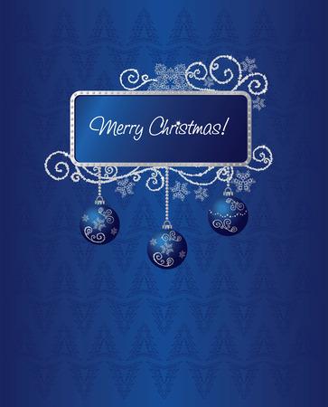 Blauwe & zilver Kerst kaart afbeelding