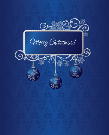 Blue & silver Christmas card illustration Vector
