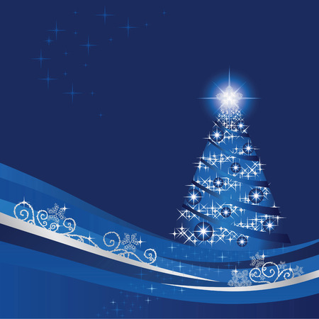 Glowing Christmas tree in a blue winter garden Vector