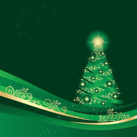 winter garden: Glowing Christmas tree in a golden green winter garden