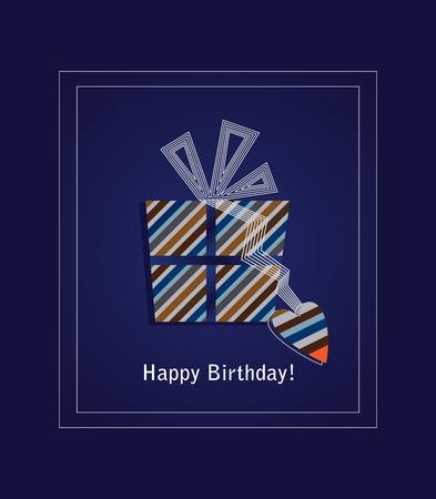 Blauwe happy birthday card met striped geschenk doos  Stock Illustratie