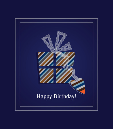 Blue happy birthday card with striped gift box