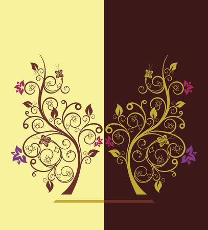 Bloeiende bomen ontwerpen vector illustratie  Stock Illustratie