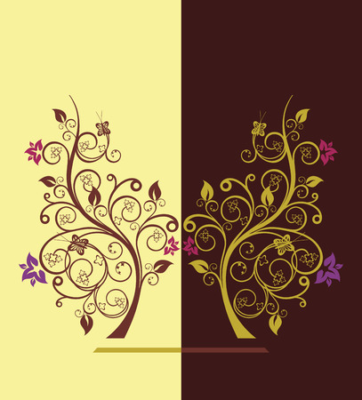 Diseño de árboles con flores ilustración vectorial