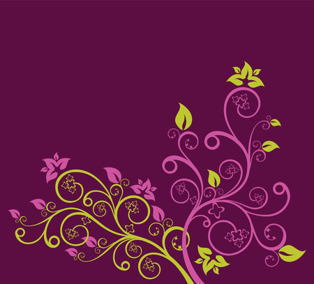 Purple and green floral vector illustration Illustration