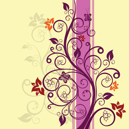 Purple and pink floral design vector illustration