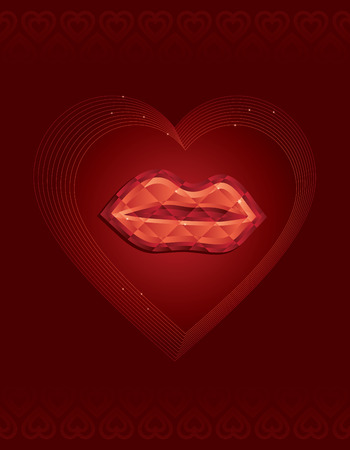 Jewelled lips wrapped in outlined hearts Vector