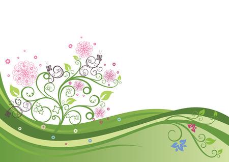 Flowering tree in a spring field