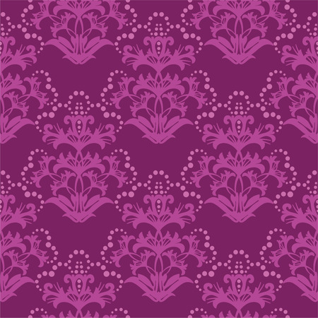 Seamless fuchsia floral wallpaper Vector