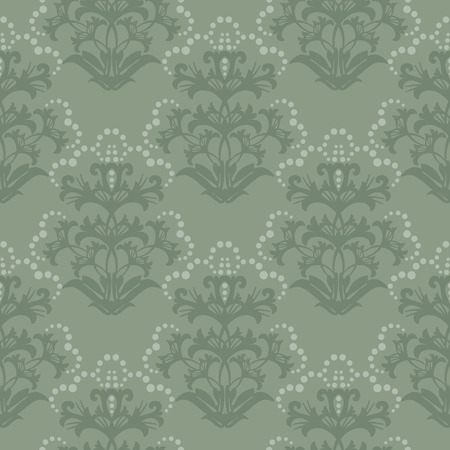 Seamless green floral wallpaper Stock Vector - 6053700