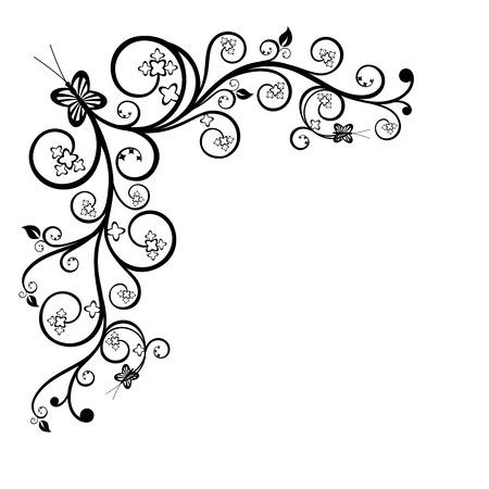 leaf curl: Floral corner design element Illustration