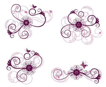 Collection of floral design elements Illustration