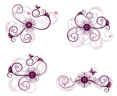 leaf curl: Collection of floral design elements Illustration