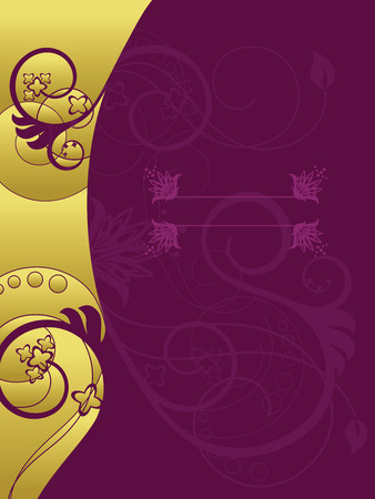 Gold and purple floral background Illustration