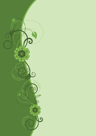 Green floral border design Illustration