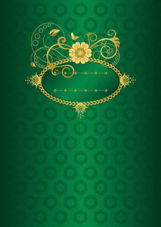 Green and gold floral card Vector