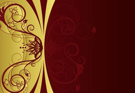 bordure floral: Conception de la fronti�re floral rouge et or